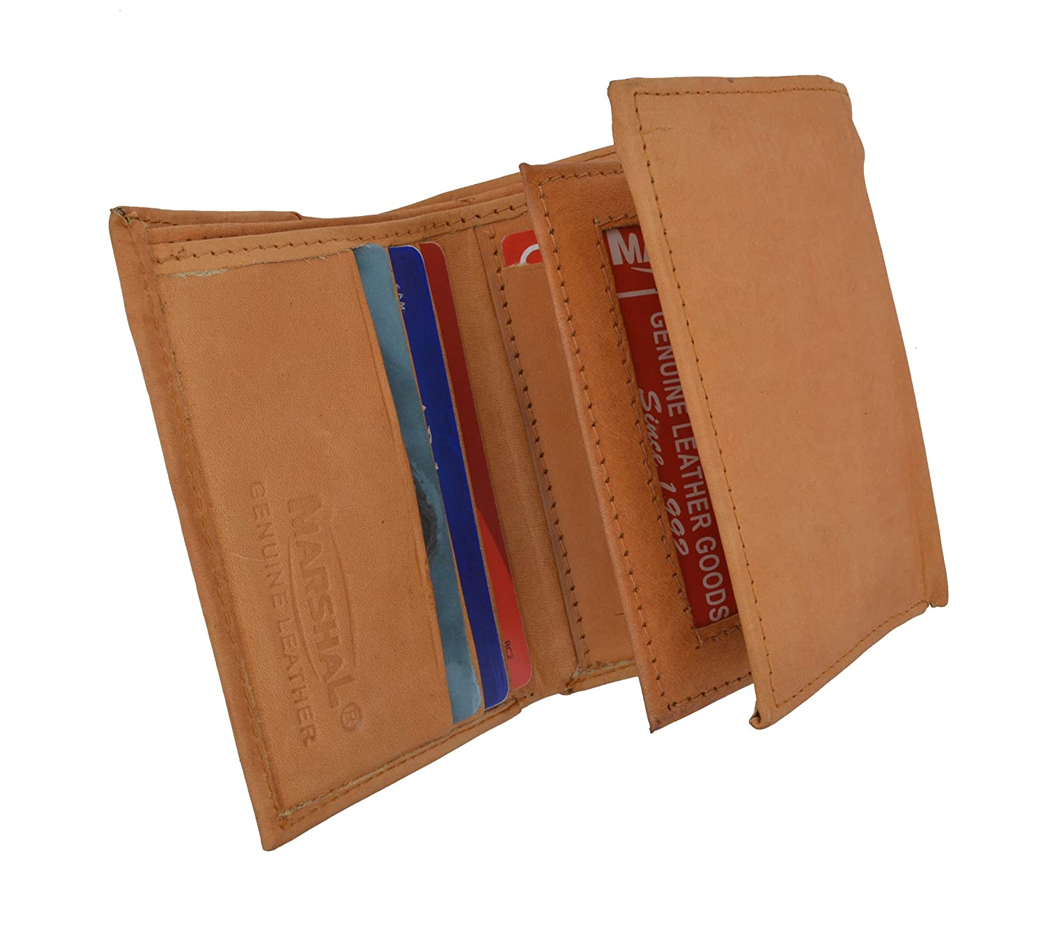 MARSHAL Genuine Leather Trifold Mens Credit Card ID Holder Wallet