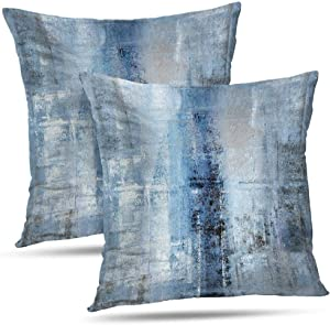 Alricc Blue and Grey Abstract Art Artwork Pillow Cover, Gallery Modern Decorative Throw Pillows Cushion Cover for Bedroom Sofa Living Room 18 x 18 Inch Set of 2
