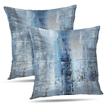 Alricc Blue and Grey Abstract Art Artwork Pillow Cover, Gallery Modern Decorative Throw Pillows Cushion Cover for Bedroom Sofa Living Room 18X18 ...