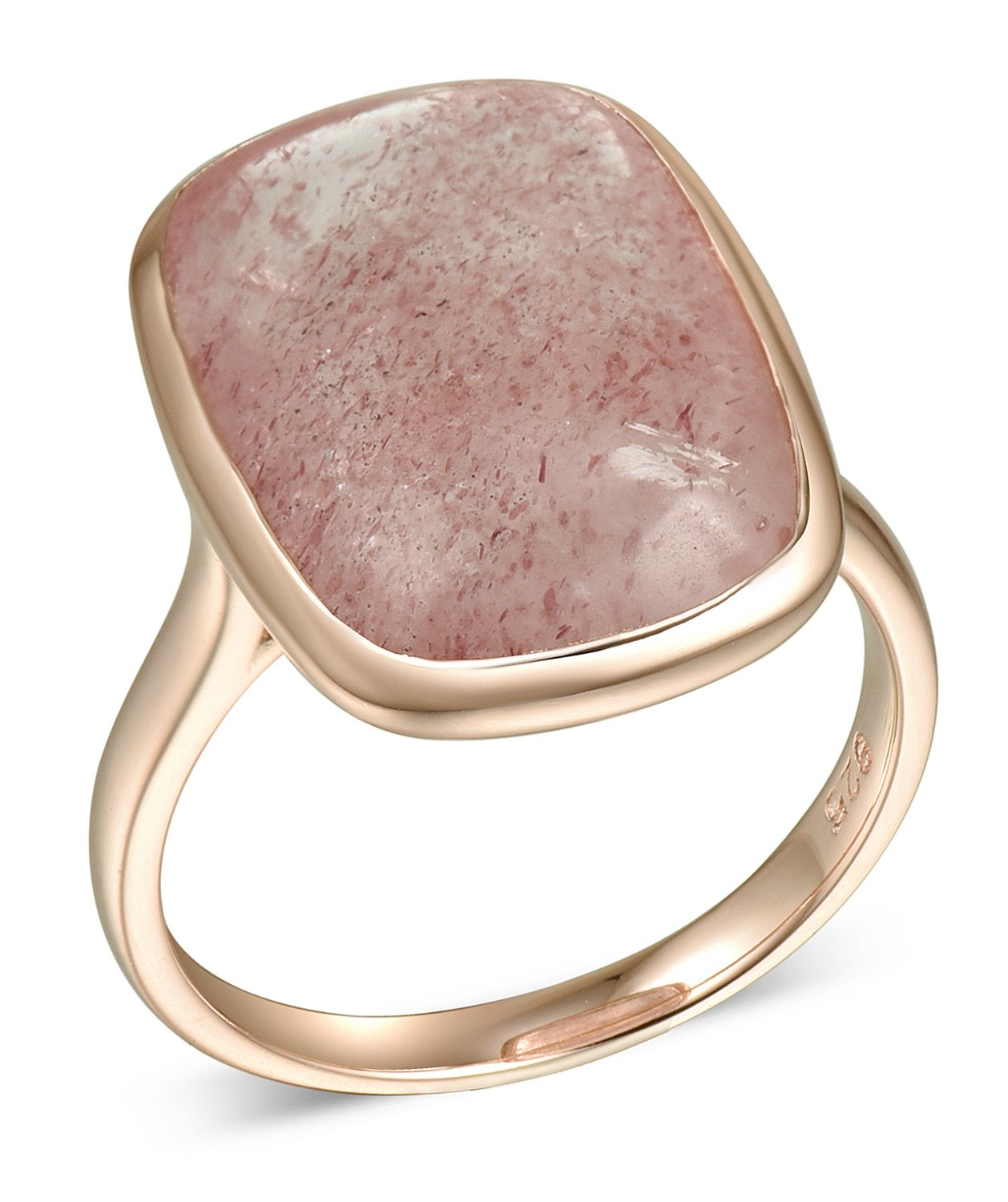 Lanfeny Rose Golden 925 Sterling Silver Ring with Natural Squared Strawberry Quartz, Size 9