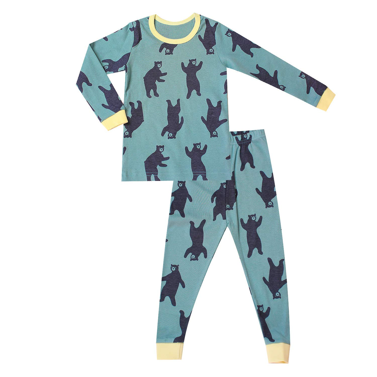 OllCHAENGi Little Boys Girls Kids Cotton Pajama Sleepwear Set Long Sleeve 18M-12Y Navy Bear