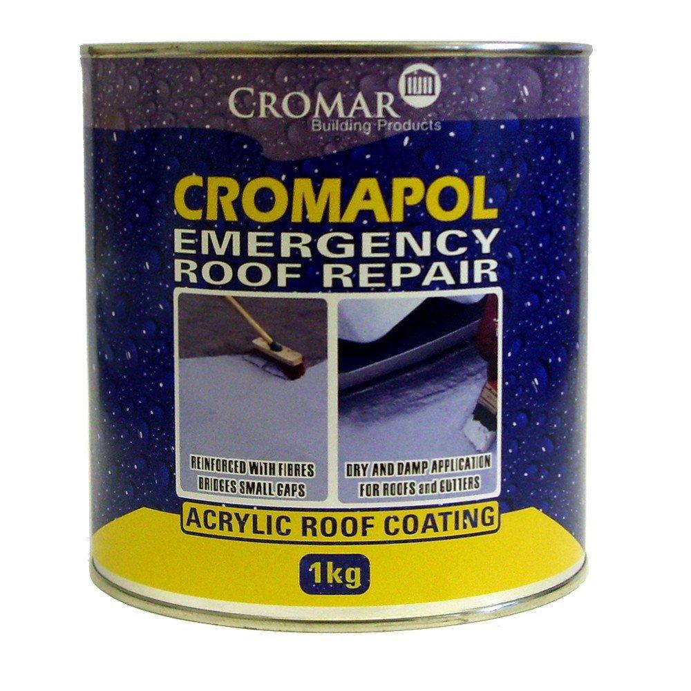 Cromapol Emergency Roof Repair Acrylic Roof Coating 1kg Grey Cromar