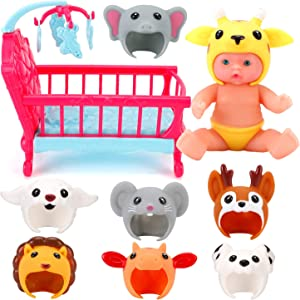 Liberty Imports 7-inch My Sweet Mini Baby Doll with Animal Friends Theme Hats and Accessories Playset