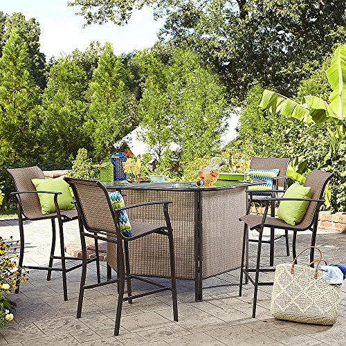 Garden Oasis 5-Piece Patio Bar Set U Shape Glass Table with High Chairs, Table Storage Shelves for Backyard, Deck