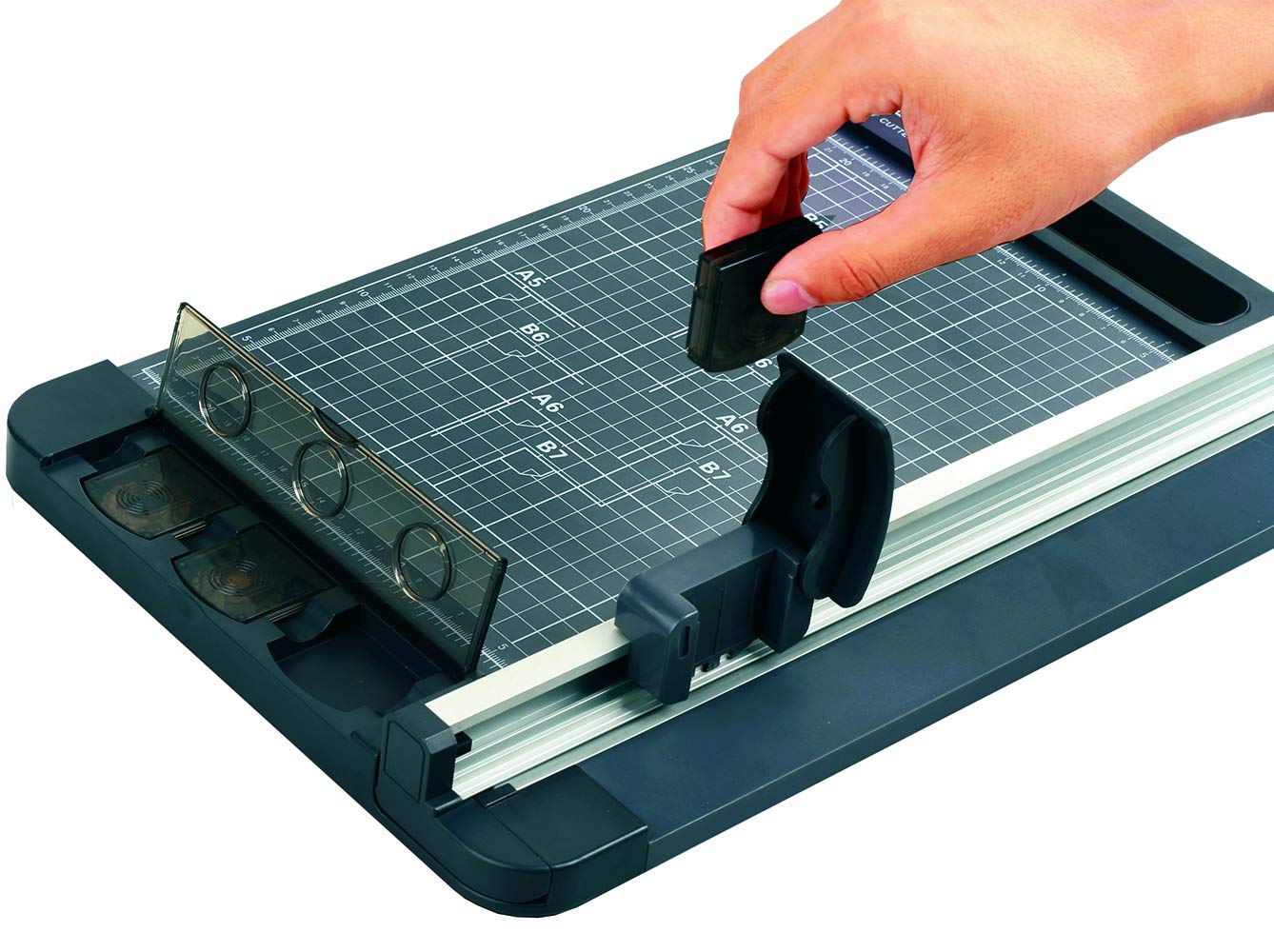 Jielisi 18 Inch Professional Rotary Paper Trimmer, A3 size 3-Ways Paper Cutter With Sliding Rotary Blade, 8 Sheet Capacity, Black