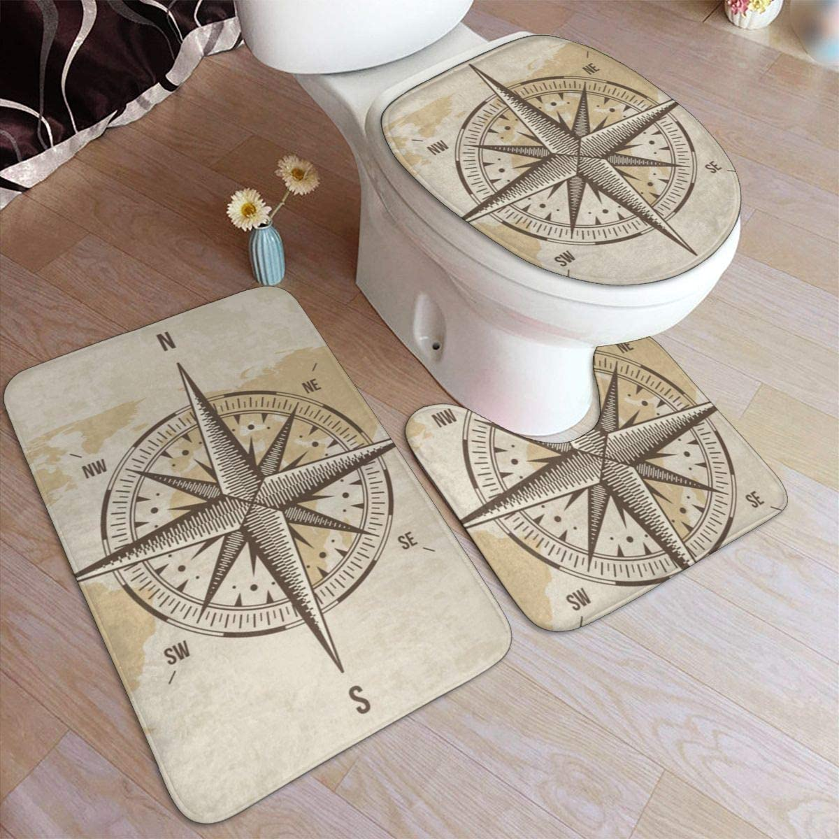 Nautical Compass Old World Map 3 Piece Bathroom Rug Set, Anti-Skid Pads Bath Mat + Contour + Toilet Lid Cover