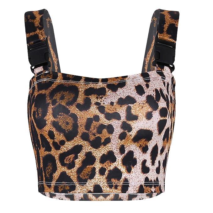 IEFIEL Tank Top Corto de Mujer Sexy Bralette Crop Top Estampado de Leopardo Sujetador para Ropa Interior Blusa Bikini Camiseta con Tirantes para Mujer: ...