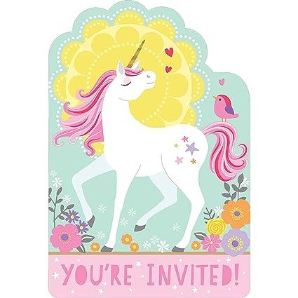 amazon com magical unicorn invitations 8 count birthday party