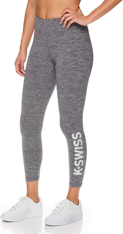 K-Swiss Womens Mid Waisted 7//8 Leggings Ladies Running Gym /& Workout Pants