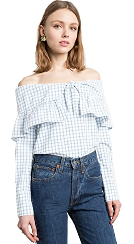 Moda Manga Larga Off The Shoulder Hombros al Descubiertos Aire Escote Bardot Plaid Guinga Cuadros Ch...