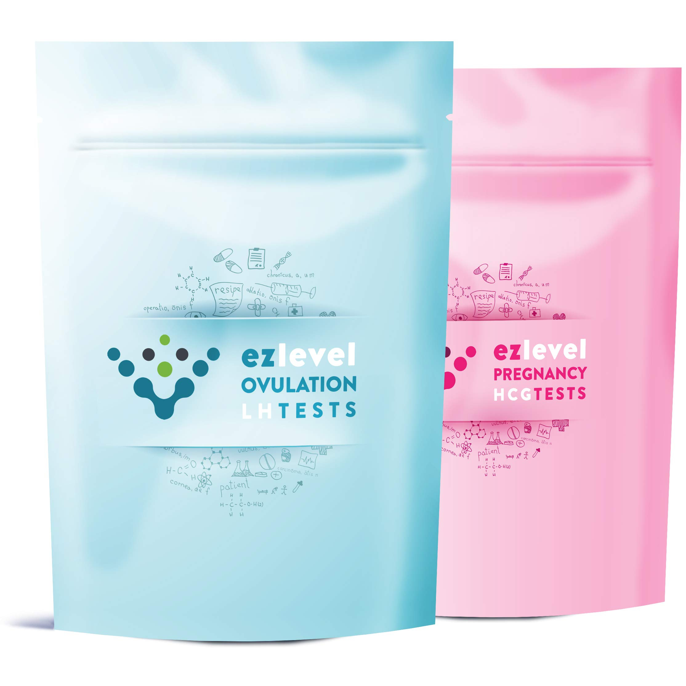 EZ Level 50 Ovulation LH and 20 Pregnancy HCG Test Strips Predictor Kit OPK Combo (50 LH + 20 HCG) by EZ Level