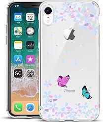 Girlscases® | iPhone XR Hülle Blumen/Schmetterling Schutzhülle aus Silikon mit Blumen/Schmetterling Aufdruck/Motiv Glänzend | Farbe: Blau/Weiß / Rosa