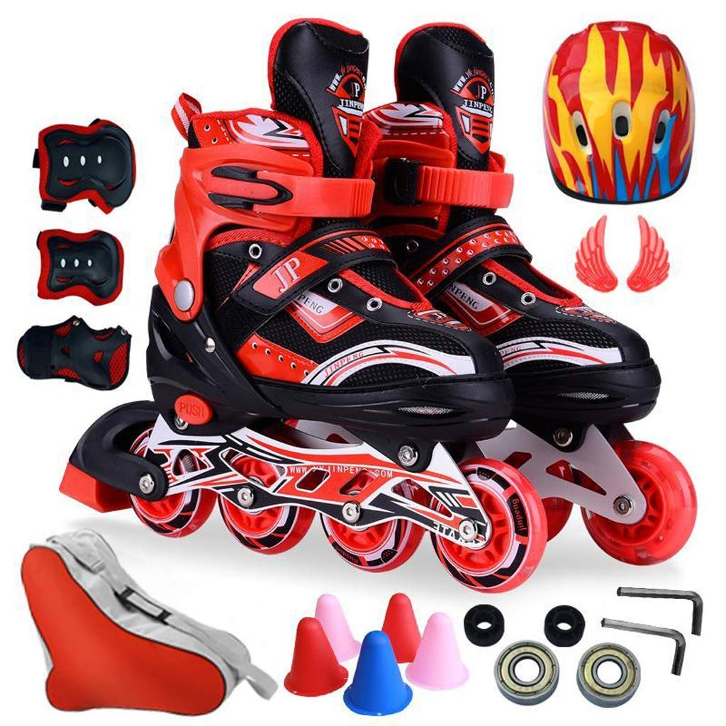 インラインスケート 8輪フラッシュインラインスケート、子供用単列スケート靴、スケート靴、快適な通気性ローラースケート (色 : A, サイズ さいず : L (39-42) sneakers 38-41) A L (39-42) sneakers 38-41