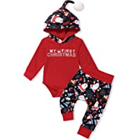 Baby Christmas Outfit My First Christmas Toddler Boy Baby Christmas Deer Hooded Long-Sleeved Trousers 2-Piece Clothes