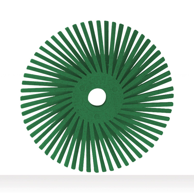Scotch-Brite(TM) Radial Bristle Disc, Ceramic, 25000 rpm, 3 Diameter, 50 Grit, Green (Pack of 10)