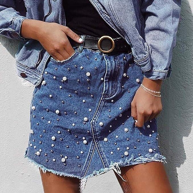 Falda de moda para las mujeres, falda con dobladillo irregular y de la cintura alta