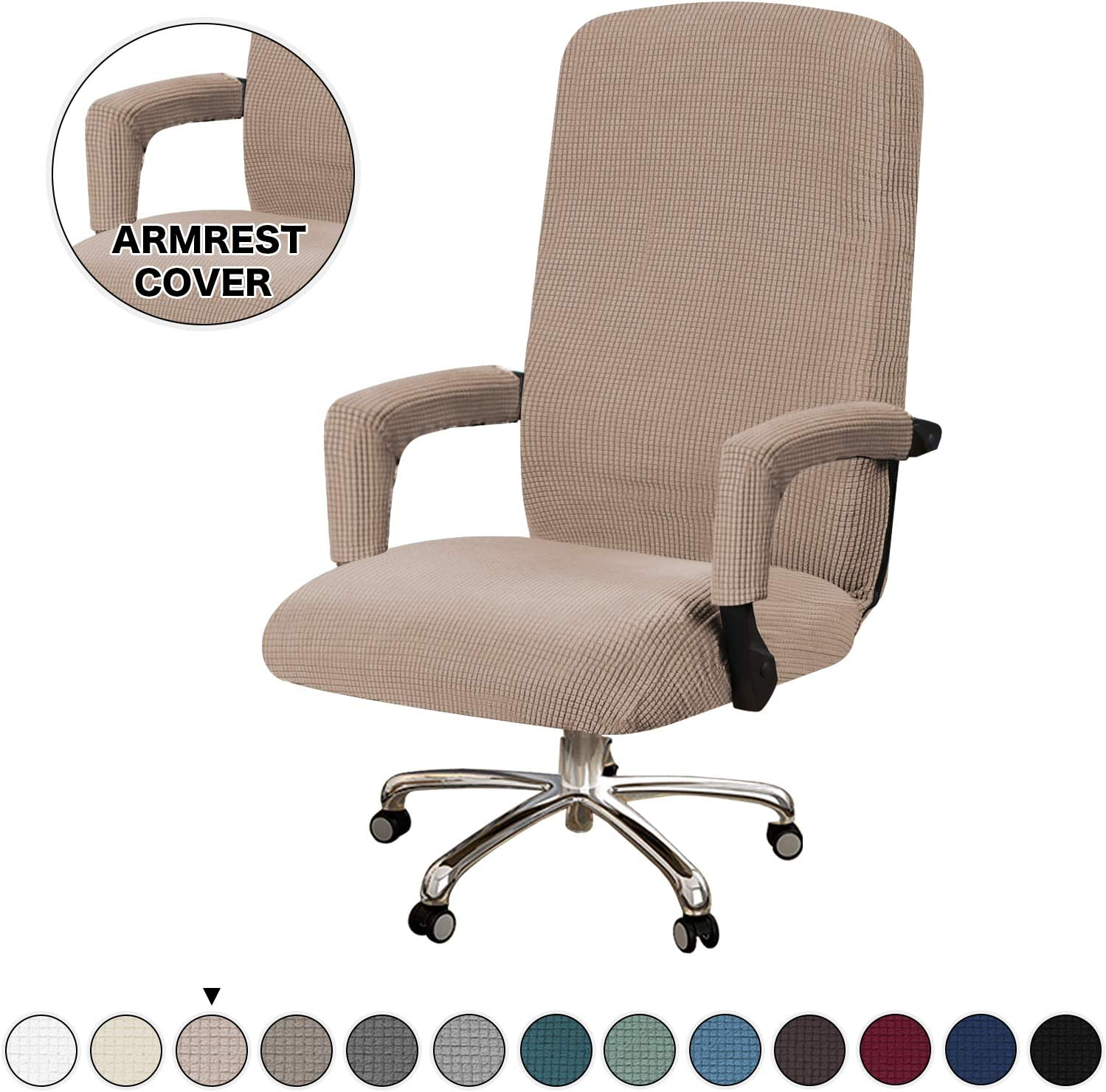 Turquoize Office Chair Cover Extra Large Computer Chair Cover Chair Slipcovers for Universal Rotating Boss Chair with Armrest Cover Swivel Chair Cover for High Back Chair, Large, Khaki