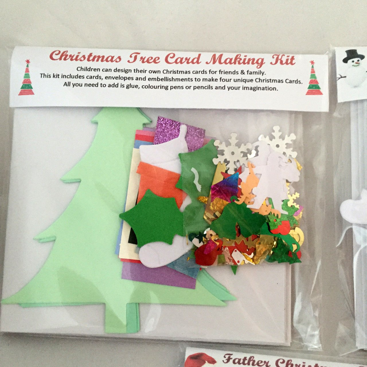 Christmas Tree Card Kit - Makes 4 cards, includes cards & envelopes ...