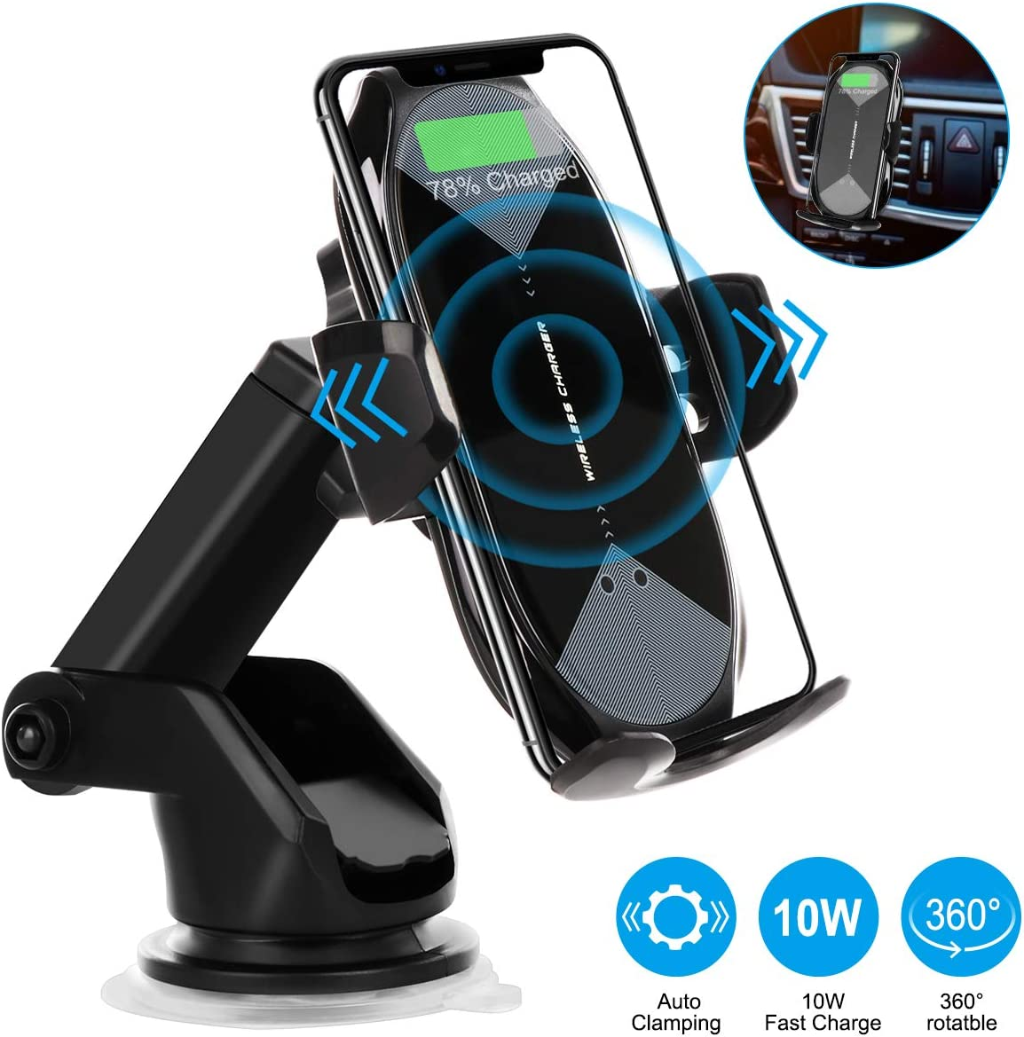 Wireless Car Charger Mount, HonShoop Auto-Clamping Qi 10W 7.5W Fast Charging Car Phone Holder Air Vent Compatible with iPhone X/XR/Xs/Xs Max/8/8 Plus ect
