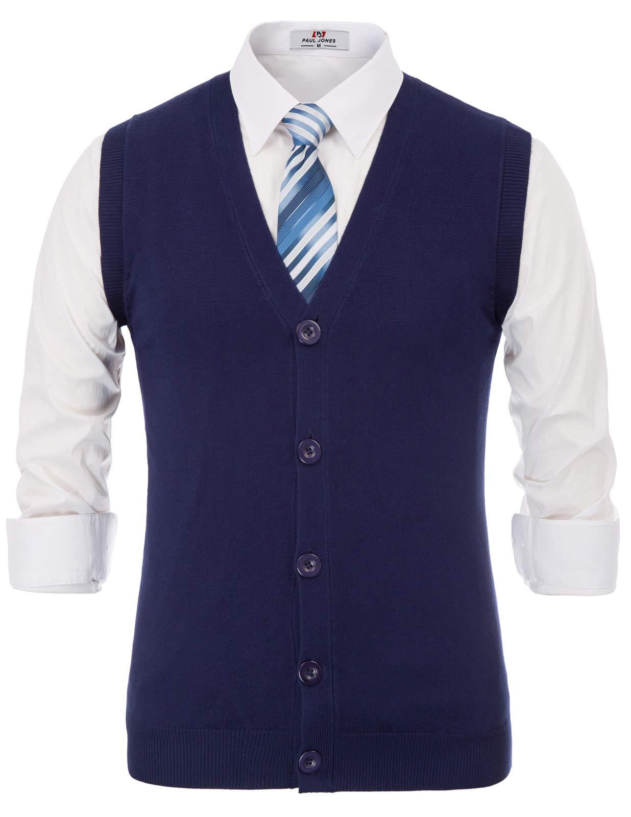 Stylish V-Neck Button Down Cardigan Sweater Vest for Men(Royal Blue-146,M)