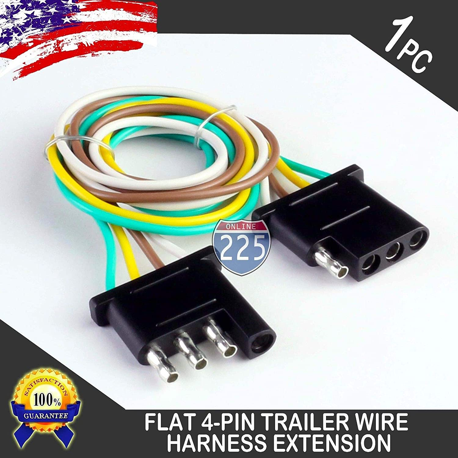 225fwy 6 Feet Trailer Light Wiring Harness Extension 4 Pin Plus 18 Awg Flat Wire Connector Automotive