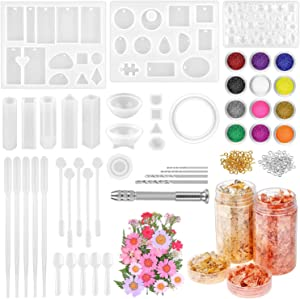 Resin Jewelry Making Kit, Thrilez 131 Pcs Resin Mold Kit with Silicone Resin Molds, Dried Flowers, Gold Foil Flakes and Tools for Epoxy Resin Casting