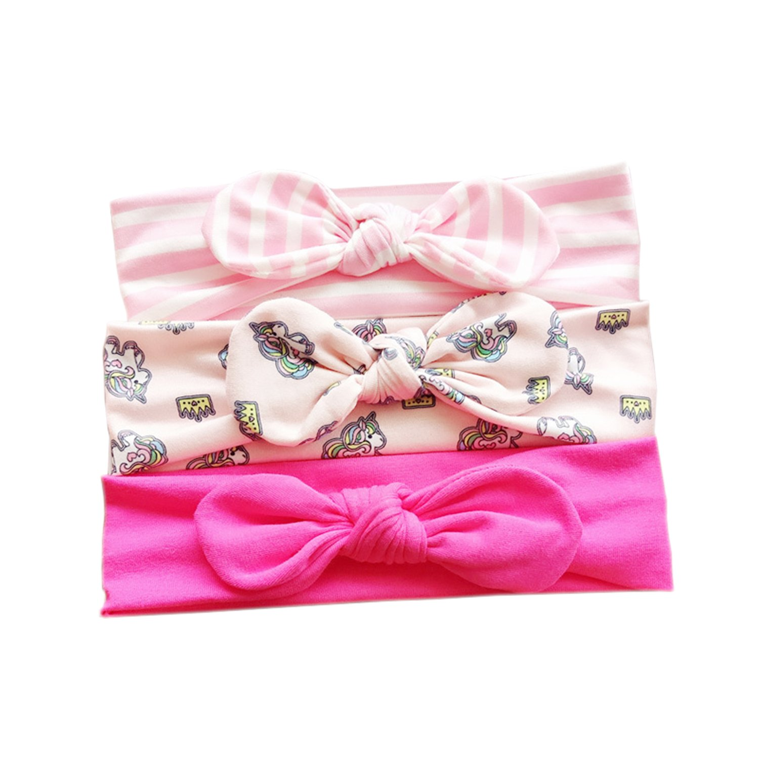 COUXILY Baby's Cotton Headband Gift Set Turban Knotted Cotton Head Wraps, Pack of 3 (G03)