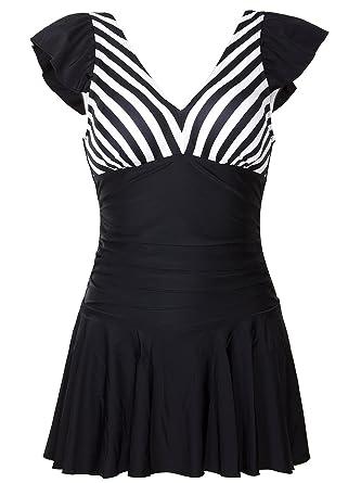 223b777c62ab3 Viqiv Women's Vintage Swimdresses With Tummy Control Sailor Pin Up One  Piece Swimsuit Swimwear