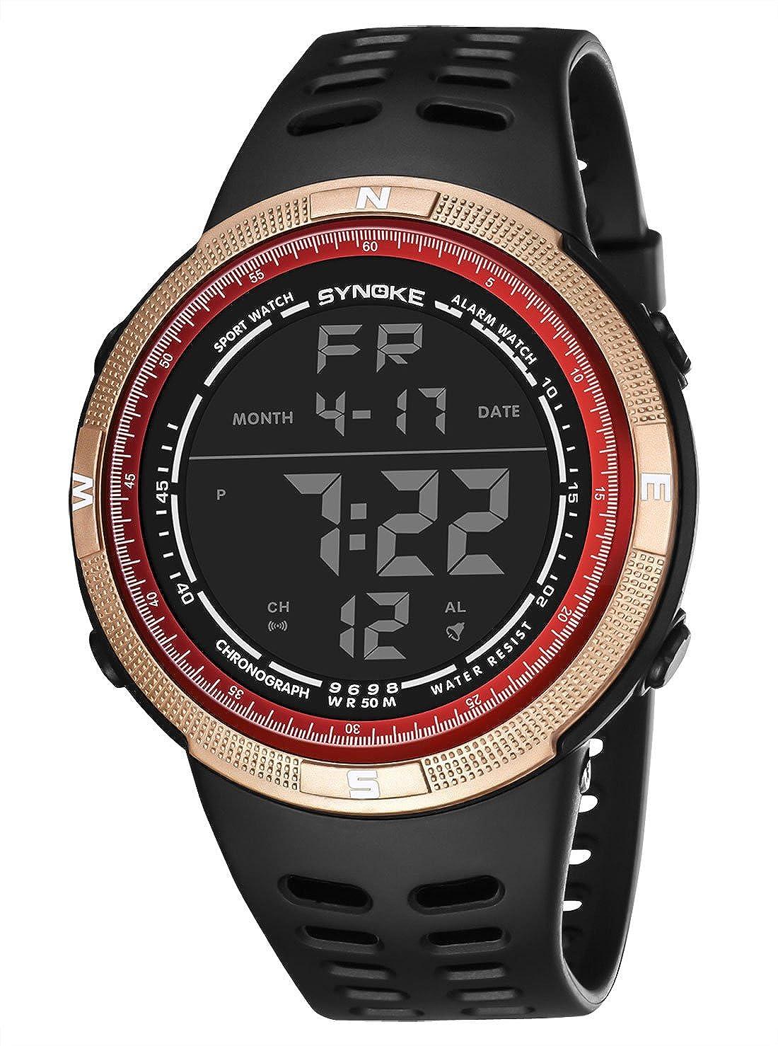 SYNOKE - Reloj de Hombre Adolescente Deportivo al Aire Libre Impermeable Digital Electrónico Multifusiones Regalo para Chicos Luz de Fondo - Dorado