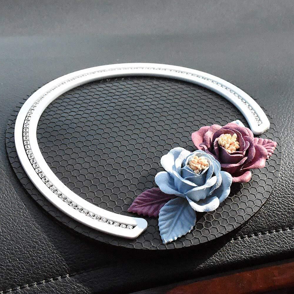 KENTT - Car Ornament Diamond Decoration Flower PVC Anti Slip Mat Non-slip Cushion Auto Dashboard Sticky Pad For Perfume Seat Phone GPS