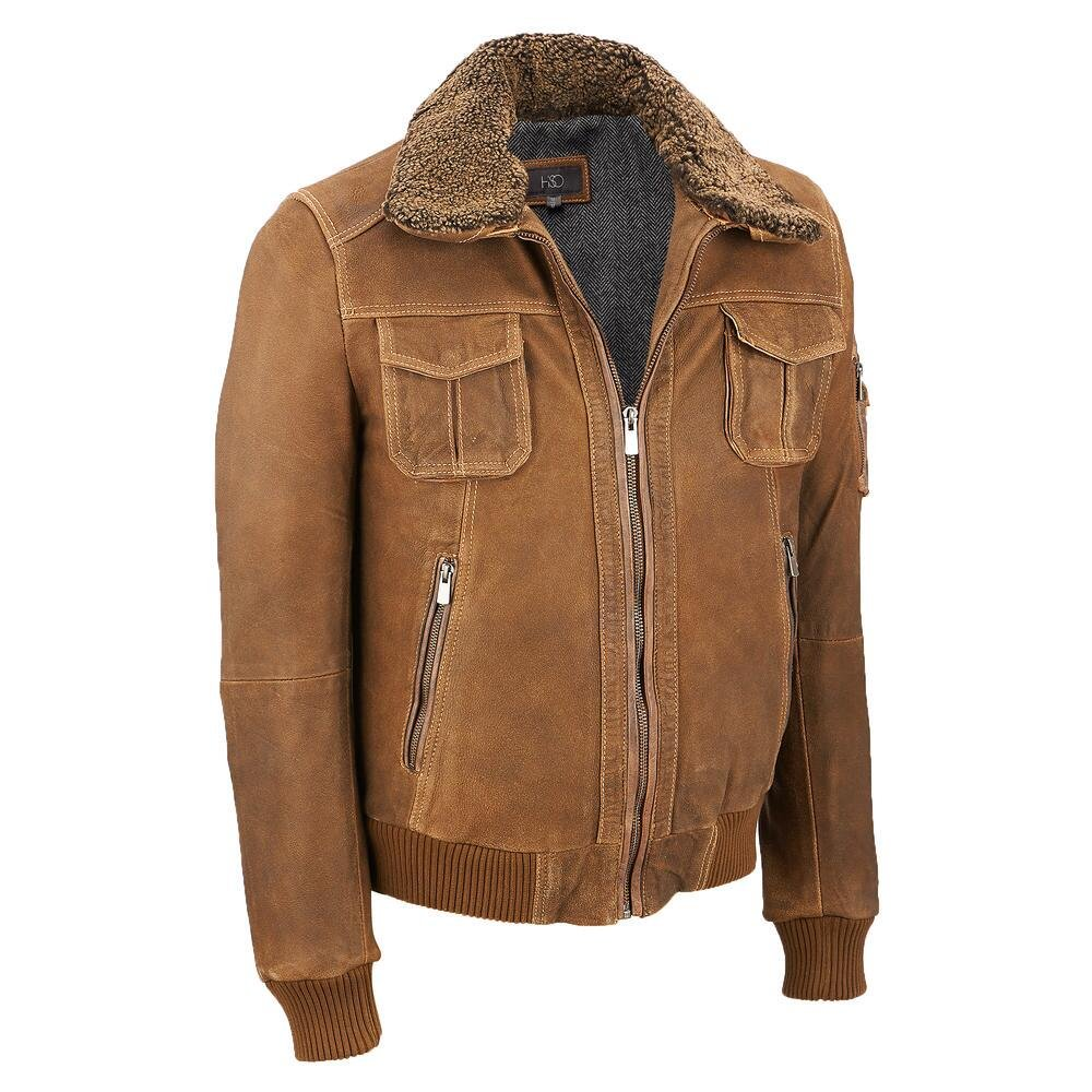 Wilsons Leather Mens Vintage Bomber W/ Shearling XL Brown