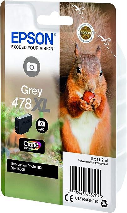 Epson Singlepack Grey 478xl Claria Photo Hd Ink Druckerpatronen Grau Epson Expression Photo Hd Xp 15000 C13t04f64020 Tintenstrahldrucker Grau Bürobedarf Schreibwaren