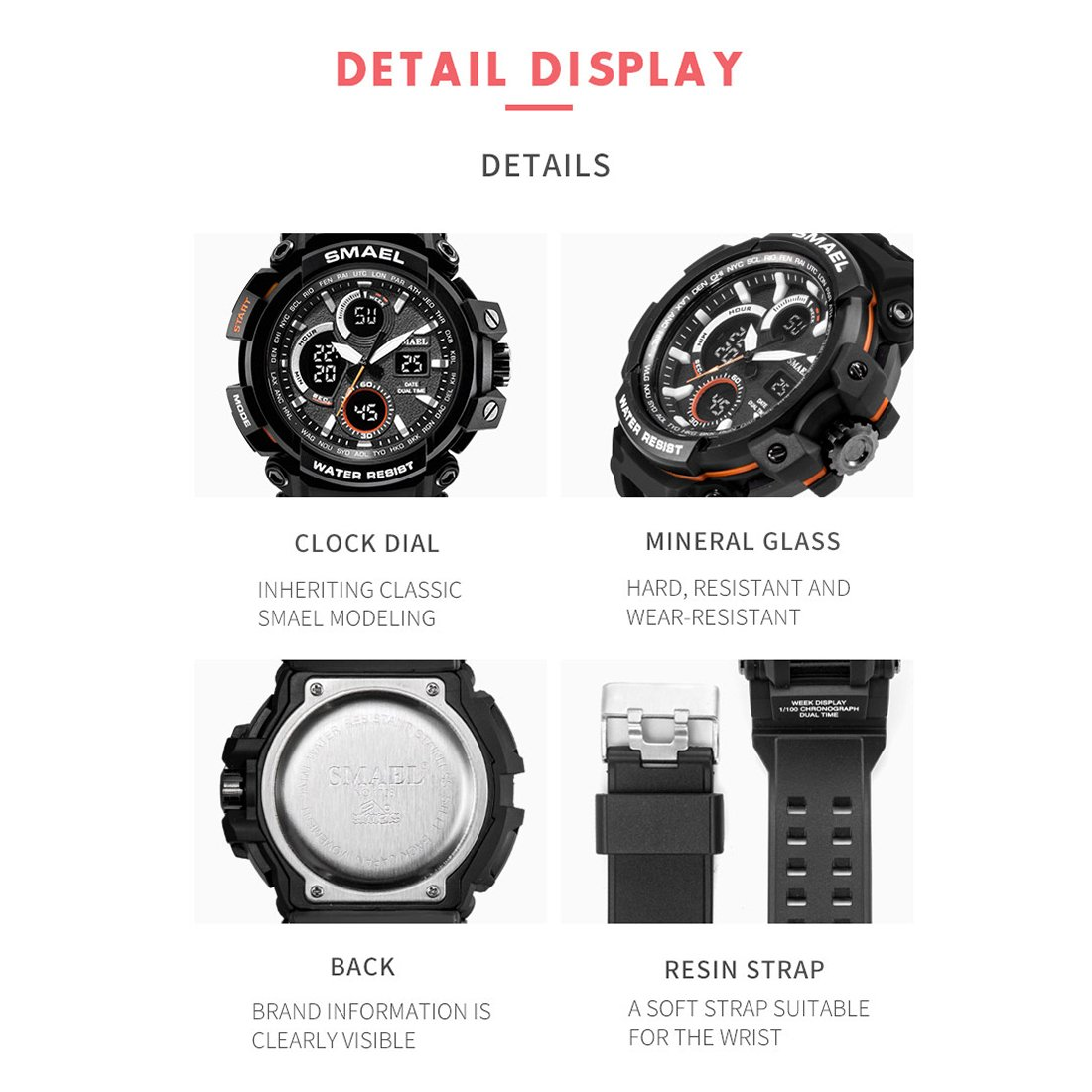 SMAEL Mens Sports Watch, Fashion New Design Watch Analog Digital Watch Sports Wristwatch Military Watch (Black): Amazon.es: Relojes