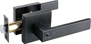 Matt Black Keyed Entry Lever Lock for Exterior Door and Front Door Heavy Duty Lever Door Lock Handle HTL01-BM-ET-1P