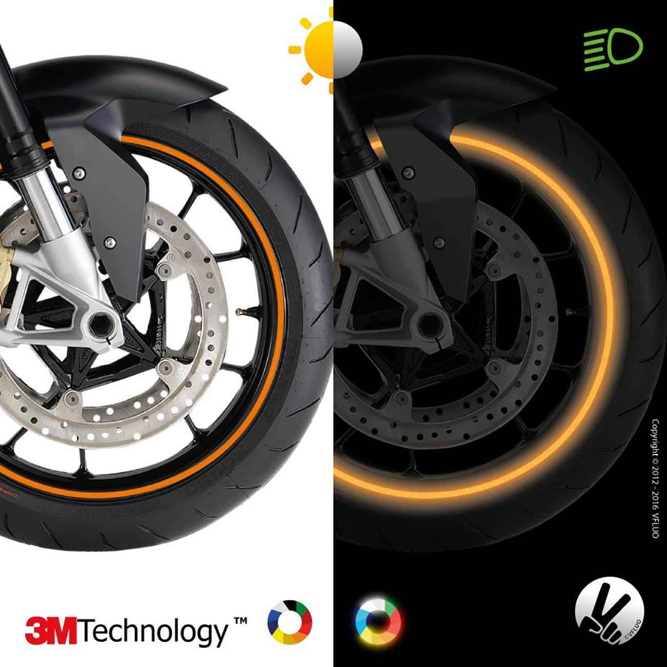 Azul Rayas Retro Reflectantes para Llantas de Moto Anchura Normal : 7mm 1 Rueda Kit de Cintas 3M Technology/™ VFLUO Circular/™