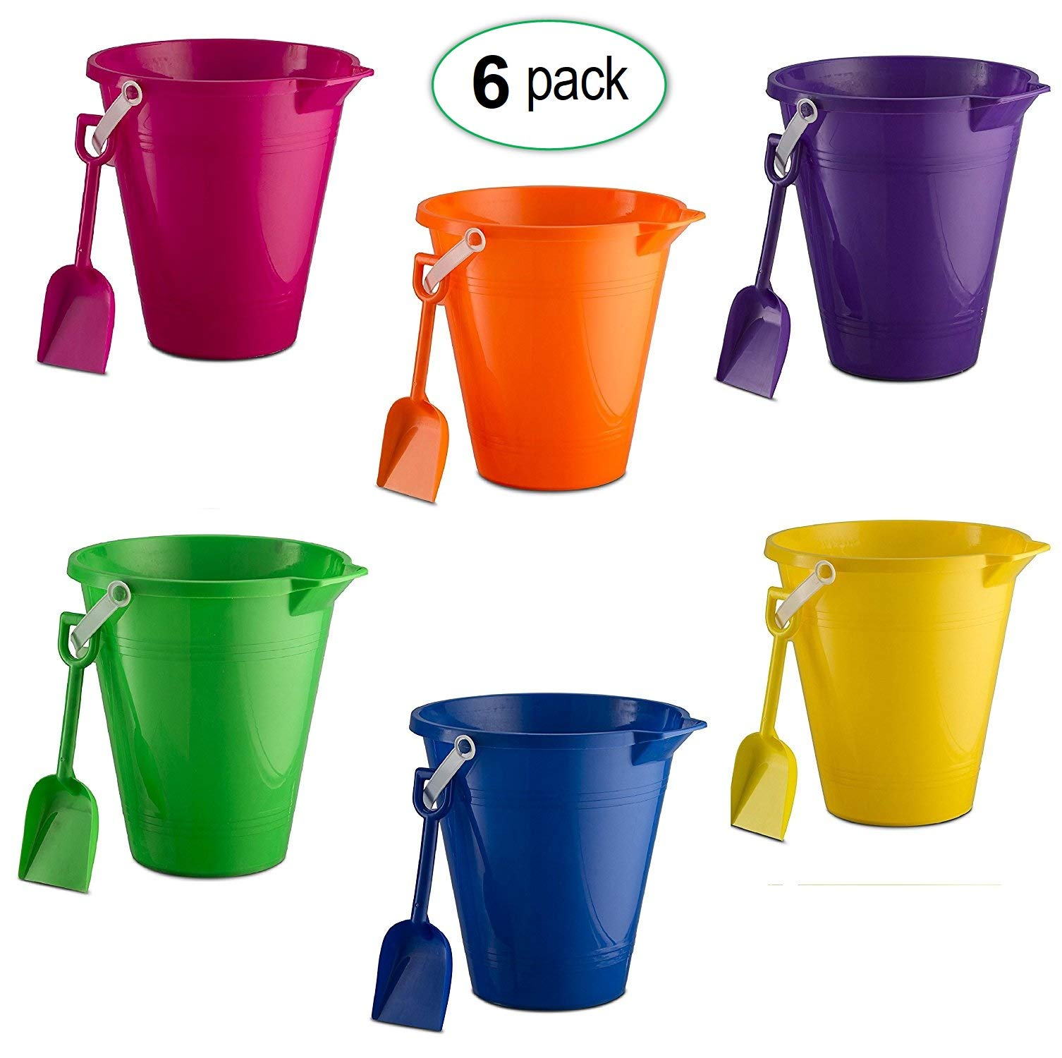 "9"" Beach Pails & Shovels Set (6 Pack) Great Beach Toys for Boys & Girls"
