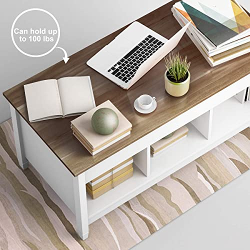 TANGKULA Coffee Table Lift Top Wood Home Living Room Modern Lift Top Storage Coffee Table w/Hidden Compartment Lift Tabletop Furniture White