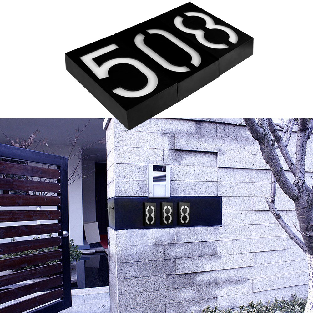 Solar Digital Doorplate Lamp Manual and Light Control Solar Wall Light LED House Number Apartment Villa Garden Light by Gorge-buy (Image #6)