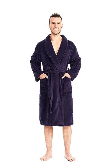 SIORO Men s Fleece Robe Long Warm Shawl Collar Bathrobe Boys Soft Sleepwear  Loungewear Gown Eggplant L 5cf29cce0