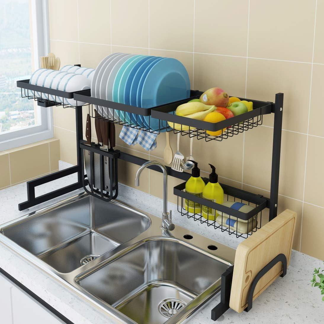 Amazon Com Dish Drying Rack Over Sink Drainer Shelf For Kitchen Drying Rack Organizer Supplies Storage Counter Kitchen Space Saver Utensils Holder Kitchen Dining