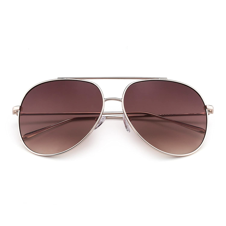 bd625c0891419 Amazon.com  Classic Oversized Aviator Sunglasses for Men Women Double  Bridge Gradient Lenses UV400 (Gold   Gradient Tawny)  Shoes
