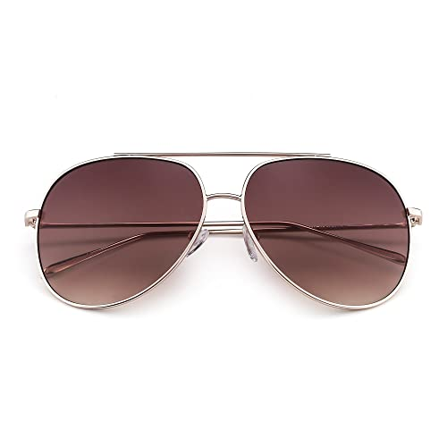 43c8857b84 Classic Oversized Aviator Sunglasses for Men Women Double Bridge Gradient  Lenses UV400 (Gold   Gradient