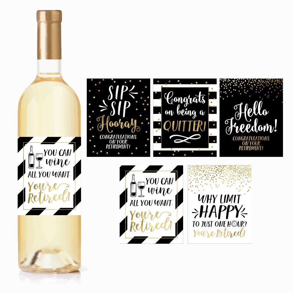 5 Retirement Party Gift Wine Labels or Stickers For Men or Women, Funny Officially Retired Decoration Supplies For Early Nurse, Police, Firefighter, Navy, Army, Military USAF Air Force Marines Teacher by Hadley Designs (Image #1)