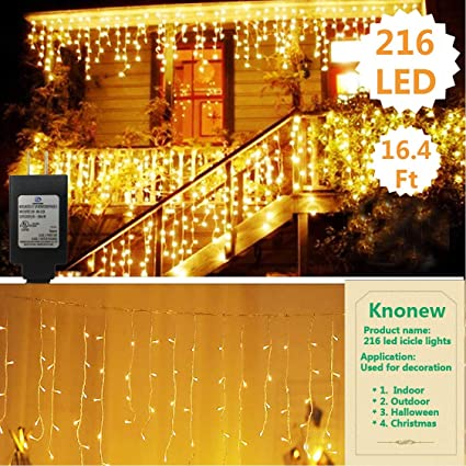 Knonew Led Icicle Lights 216 Leds 16 4ft 8 Modes Curtain Fairy Light Led String Light For Wedding Christmas Halloween Thanksgiving Easter Party