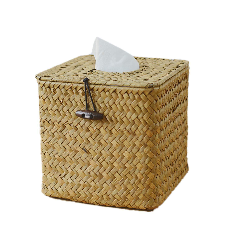 Morava Square Seagrass Facial Tissue Box Decorative Woven Paper Holder Napkin Dispenser (1) by Morava