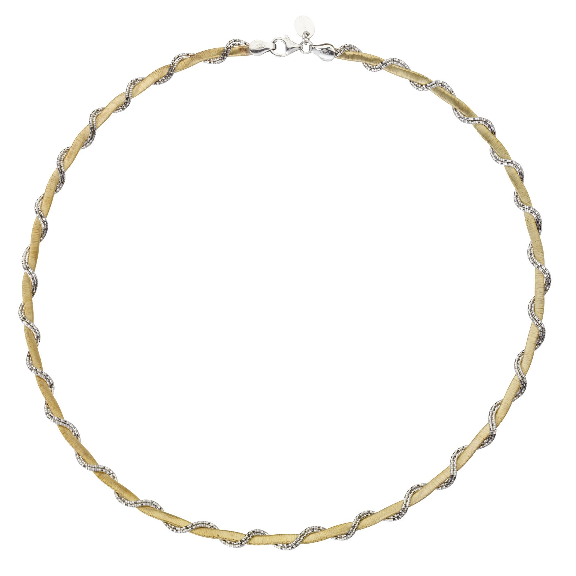 Two Tone White and Yellow Sterling Silver Omega Necklace Braided Vine Style
