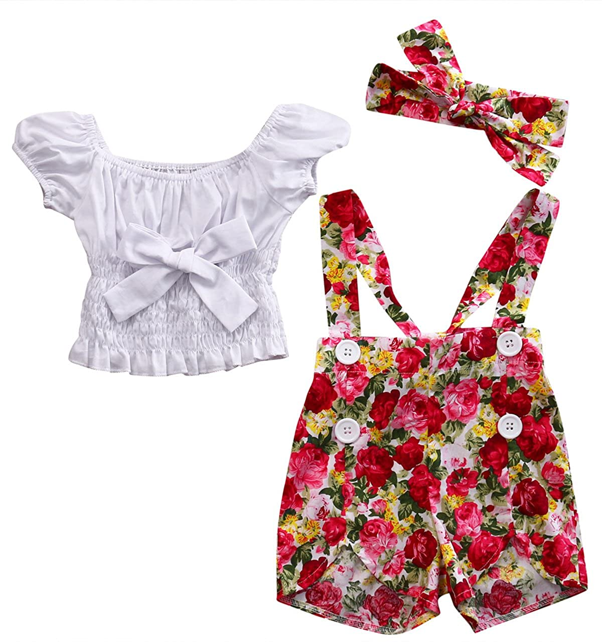 Baby Girl Off-Shoulder Bowknot Stretchy Tops+Floral Overall Shortall+Headband