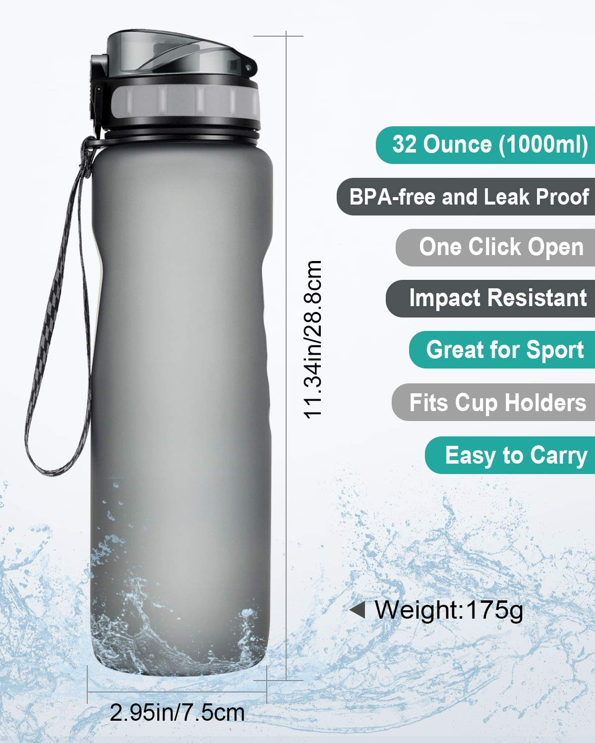 Leakproof and Dustproof Cap for Camping Travel Hiking Yoga Gym and More Outdoor Activities GIARIDE Tritan Water Bottle 32oz BPA-Free Sports Water Bottle Drink Bottle with Locking Flip-Flop Lid
