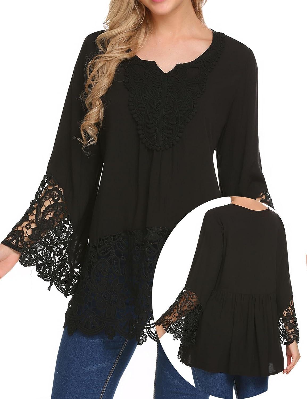 20a474efba Top4  Teewanna Women s Lace Splice Flare Sleeve Flowy Loose Peplum Boho  Blouse Tops Shirts S-2XL