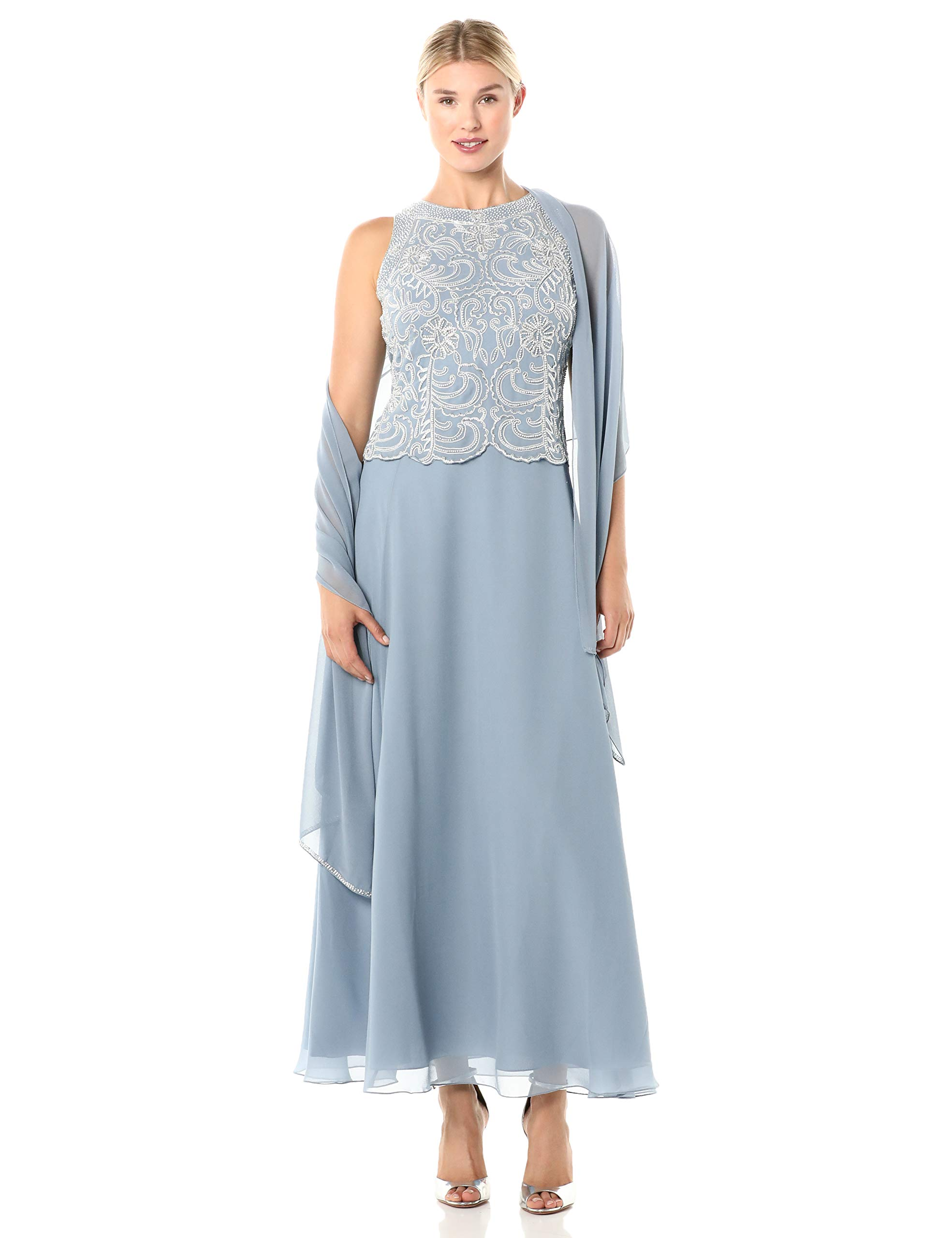 J Kara Women's Sleeveless Scallop Long Beaded Dress